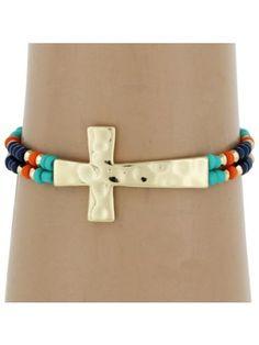 $3.50 Hammered Cross Multi-Blue Seed Bead Stretch Bracelet