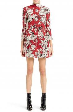 Valentino Enchanted Floral Print Stretch Silk Dress