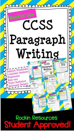 $ Paragraph writing is a skill that should be taught prior to essay writing. I start off the beginning of the year with this mini-unit. Included in this packet are instructions, teaching posters for bulletin board or smart board, student printable for notebooking, independent practice, quiz, and test. 1. Subject/Predicate 2. Complete Sentence 3. Fragments 4. Run-ons 5. Topic Sentence 6. Indents 7. Relevant Details 8. Clincher 9. Hamburger Model