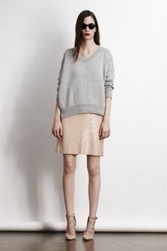 Grey sweater + sequined skirt = perfect!
