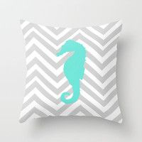 Chervon Seahorse Throw Pillow by Sunkissed Laughter   Society6