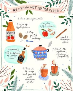 A winter warmer.illustrated recipe for hot apple cider 🍎 Stay warm all of you folks in the Northern Hemisphere! Free Illustration, Halloween Illustration, Botanical Illustration, Recipe Drawing, Hot Apple Cider, Winter Warmers, Grafik Design, Food Illustrations, Fall Halloween