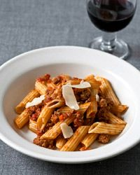 This pasta Bolognese recipe from F&W's Grace Parisi features a traditional combination of ground beef, pork, veal and tomato enriched by smoky pancetta.