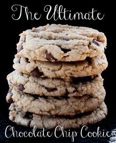 The *ULTIMATE* chocolate chip cookie is big, soft, chewy, and full of chocolate-y goodness. Click link for recipe.  Three 31  #recipe #chocolatechipcookie