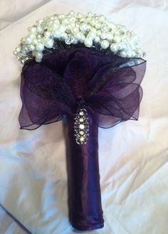Pearl bouquet/boutonniere :  wedding black bouquet bridesmaids diy purple white Bouquet