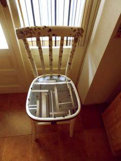 restyling sedia carta da giornale e acrilici