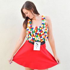 This year, go crazy with pom poms and dress up as a gumball machine with this simple tutorial!