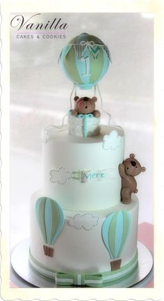 Hot Air Balloon Cake with Teddy Bears Christmas Donuts, Christmas Cake Pops, Baby Shower Cakes For Boys, Baby Boy Cakes, Teddy Bear Cakes, Teddy Bears, Hot Air Balloon Cake, Cupcakes For Boys, Cake Designs