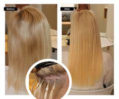 Før/efter billede af Hot Fusion hair extensions.