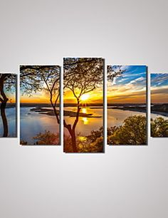 5 Panels Sunset River Landscape Picture Print Modern Wall Ar... – USD $ 33.99