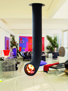 Central Hanging steel Fireplace RENZOFOCUS by Focus | #Design Dominique Imbert (2005) #fireplace