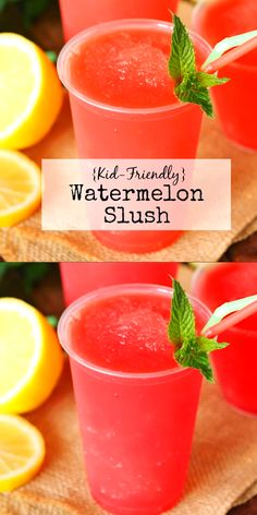 {Kid-Friendly} Watermelon Slush ~ Super tasty & super easy to make, too! The kids will love to help make this slush that's perfect for warm weather sipping. Watermelon Smoothie Recipes, Smoothie Recipes For Kids, Easy Drink Recipes, Smoothies For Kids, Easy Smoothies, Watermelon Recipes Videos, Fun Recipes For Kids, Watermelon Drinks, Healthy Recipes