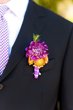 Bright pop of Purple & Orange Boutonniere by Figlewicz Photography