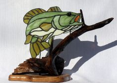 Large Mouth Bass Stained Glass Art with Wood Sculpture