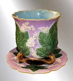 RARE GEORGE JONES PINK MAJOLICA CHESTNUT CACHE POT AND UNDER PLATE
