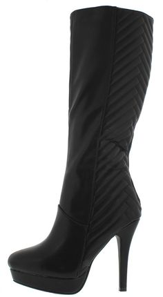 MARCELLA18 BLACK GEOMETRIC QUILTED STITCHING PLATFORM HEEL BOOT ONLY $25.88