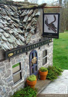 The Squirrel's End - Miniature goblin pub, work in progress by Nichola Battilana. So many amazing details!