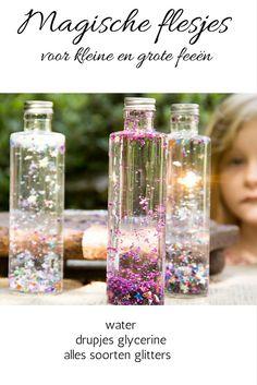 DIY magische flesjes voor elfen en feeën. Leuke activiteit om te doen tijdens een kinderfeest of verjaardagsfeest