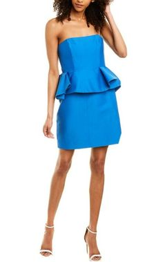 Halston Heritage Dress, M Color, Size Model, Color Patterns, Blue Dresses, Peplum Dress, Luxury Fashion, Silk, Cotton