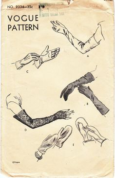 1940s Ladies Gloves and Mittens Sewing Pattern (Vogue 9334). #vintage #sewing #patterns