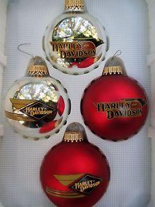 Set of 4 Harley Davidson Christmas Glass Ball Ornaments 2004 USA Red Silver | eBay