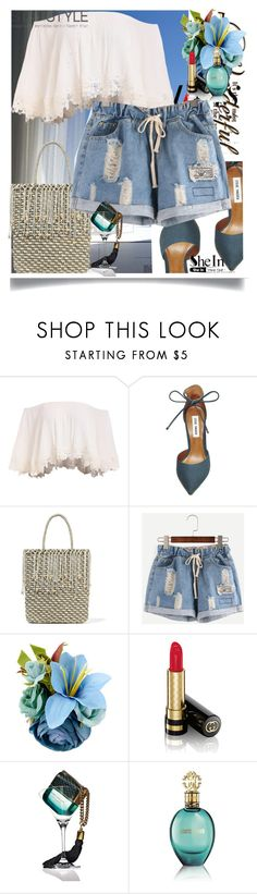 """""""SHEIN: Drawstring Waist Blue Shorts"""" by manuela-cdl ❤ liked on Polyvore featuring Folio, Whiteley, Steve Madden, Sensi Studio, Gucci, Marc Jacobs and Roberto Cavalli"""
