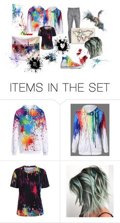 """""""Paint splatter"""" by tmntwolfie ❤ liked on Polyvore featuring art, paintsplatter and Coupleshoodie"""