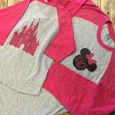 Personalized Disney Castle Women's Baseball Shirt, Monogrammed Princess Shirt, Monogrammed Disney Shirt by ATime4EverythingShop on Etsy https://www.etsy.com/listing/490377388/personalized-disney-castle-womens