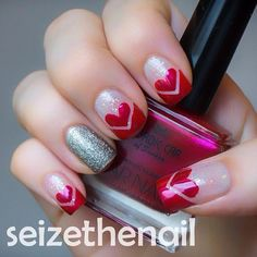 Chevron french manicure with hearts!