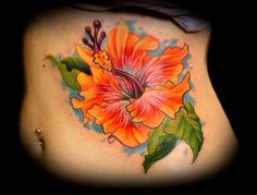 Tattoo Art Hibiscus Tattoos Meaning And Pics. Off The Map Tattoo Tattoos Color Hibiscus Flower On Ribs Tattoo. Tattoo Lily, Flower Tattoo On Ribs, Hawaiianisches Tattoo, Flower Tattoo Drawings, Tattoo Now, Back Tattoo, Tattoo Flowers, Hibiscus Flower Tattoos, Hibiscus Flowers