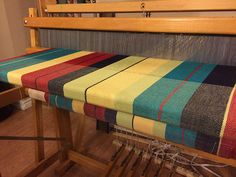 Handwoven cotton baby wrap on the loom.  Madder Roots | Canada