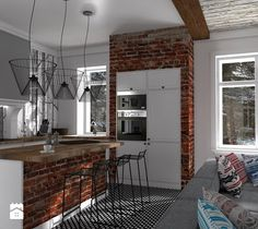 Mieszkanie prywatne Konstancin - Duża otwarta kuchnia w kształcie litery l z wyspą, styl skandynawski - zdjęcie od CKkwadrat