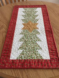 Quilted Christmas Tree Gold Star Table Runner by countrysewing4U