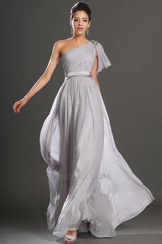 Un sólo hombro Elegante largo Fajas Vestido de Noche