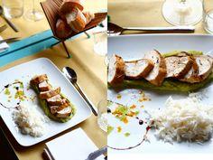 Petto di pollo  Teneri bocconcini di petto di pollo scaloppati e adagiati su una purea di piselli. Accompagnati da candido riso thai. Un secondo piatto appagante e di sostanza.