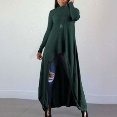 Casual irregolari Abiti Pure Color maglia Hoodie Dress, Dress Brands, Knit Dress, Casual Dresses, Pure Products, Hoodies, Elegant, Womens Fashion, Sleeves