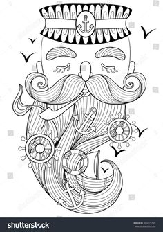 Vector zentangle old sailor, seaman smoking pipe, captain, fisherman, sea-dog illustration for adult anti stress coloring page. Hand drawn artistically ornamental patterned portrait, sea collection.