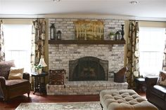 Best Pics yellow Brick Fireplace Suggestions The Yellow Cape Cod: White Washed . Best Pics yellow Brick Fireplace Suggestions The Yellow Cape Cod: White Washed . White Wash Brick Fireplace, Red Brick Fireplaces, Vintage Fireplace, Brick Fireplace Makeover, Fireplace Remodel, Diy Fireplace, Fireplace Design, Painted Fireplaces, Fireplace Update