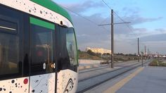 Metro (subway) - Tram in Malaga, Andalucia, Costa del Sol, Spain The line number 1 (L1) of Málaga metro MM (tram) has a length of 11 km. Stations, subway tunnel, interior of the train, view from the driver's cab