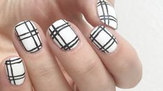 Easy and Simple Black & White Plaid Nails