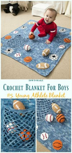 Young Athlete Blanket and Rattles Free Crochet Pattern- #Crochet; #Blanket; Free Patterns For Boys