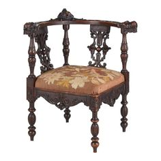 French Renaissance Carved Walnut Corner Chair, Late 1800s