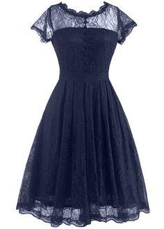 Open Back Cap Sleeve Lace Skater Dress   lulugal.com - USD $29.69