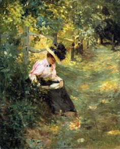 The Lane (c.1893).Theodore Robinson (American, Impressionist, 1852-1895). Oil on canvas.High Museum of Art. Robinson spent his last years applying his Monet-inspired impressionism to the American scenery of Vermont and Connecticut. These late American works were favorably received by critics at his first one-man exhibition at the Macbeth Gallery in 1895.