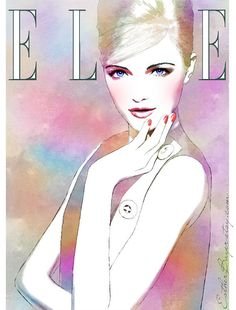 Fashion Illustration by Esther Bayer     art, watercolor, mixed media, drawing, elle, painting, blue, pink, purple