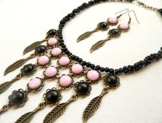 #Pinkblack  #Statement necklace  #Romantic jewelry  by #insoujewelry, $66.00