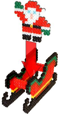 3D Sleigh and Reindeer - Christmas Perler Project Pattern