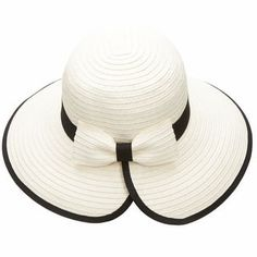 Women's Brimmed Straw Sun Hat With Back Bow - One size