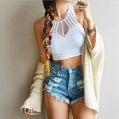 Crop Top + Shorts + Cardigan + Braid