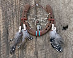 Hand Craved Wood Horseshoe Dreamcatcher by WhiteFeatherJewelry, $35.00